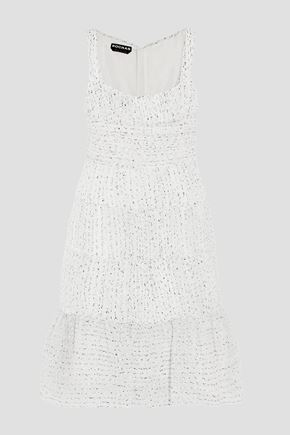 ROCHAS Ruched organza-bouclé dress