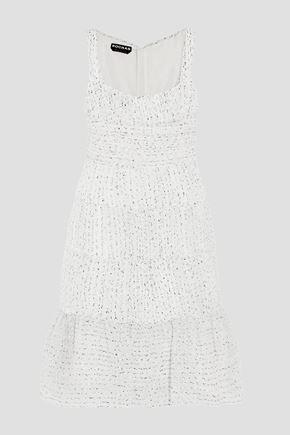 ROCHAS Ruched organza-bouclé dress