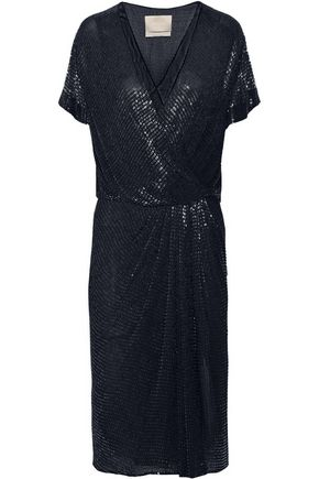 JASON WU Beaded silk-chiffon wrap-effect dress