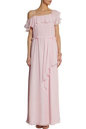 PHILOSOPHY di LORENZO SERAFINI Ruffled silk-chiffon gown