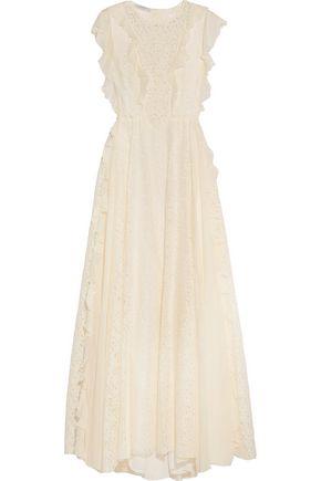 PHILOSOPHY di LORENZO SERAFINI Ruffled georgette-trimmed cotton-blend lace gown