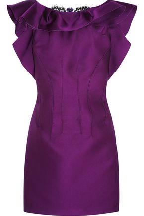 LANVIN Lace-paneled ruffled satin mini dress