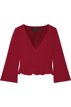 CUSHNIE ET OCHS Cropped ruffled cady top