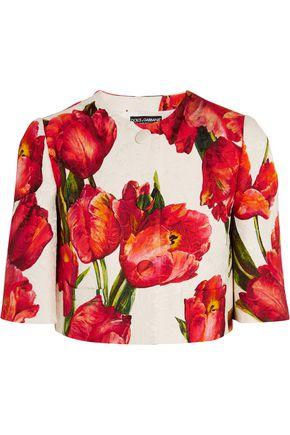 DOLCE & GABBANA Cropped floral-print cotton-blend matelassé jacket