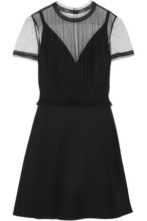 VALENTINO Pleated tulle-paneled wool and silk-blend mini dress