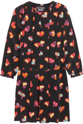 BOUTIQUE MOSCHINO Pleated printed silk crepe de chine mini dress
