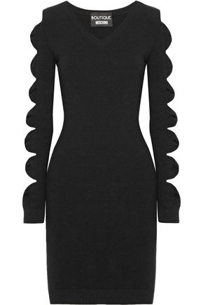 BOUTIQUE MOSCHINO Cutout bow-detailed stretch-knit mini dress