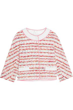 BOUTIQUE MOSCHINO Lace and grosgrain-trimmed bouclé-tweed jacket