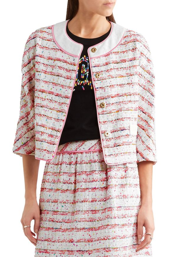Lace and grosgrain-trimmed bouclé-tweed jacket | BOUTIQUE MOSCHINO | Sale up  to 70% off | THE OUTNET