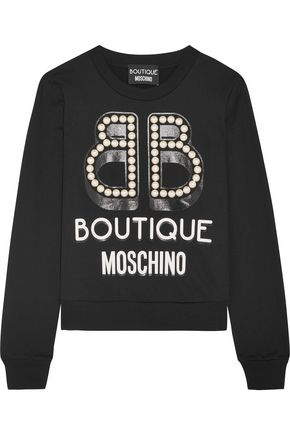 BOUTIQUE MOSCHINO Embellished printed cotton-jersey sweatshirt