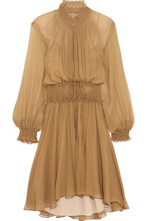 CHLOÉ Smocked georgette mini dress