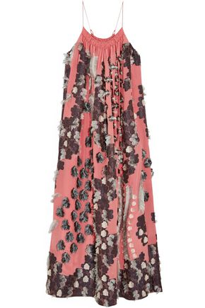 CHLOÉ Floral fil coupé silk gown