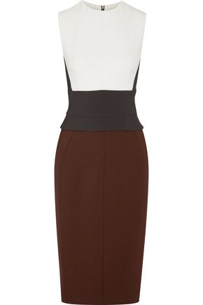 NARCISO RODRIGUEZ Color-block silk-blend crepe peplum dress