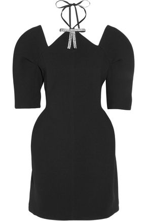 MARNI Cutout embellished bonded-jersey mini dress