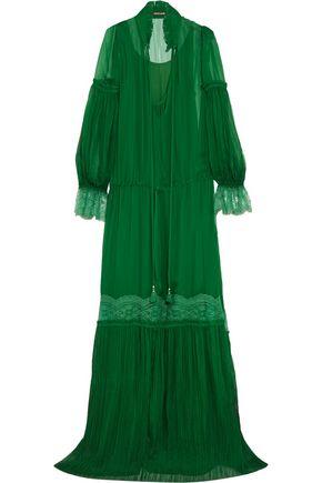 ROBERTO CAVALLI Lace-trimmed plissé silk-chiffon gown