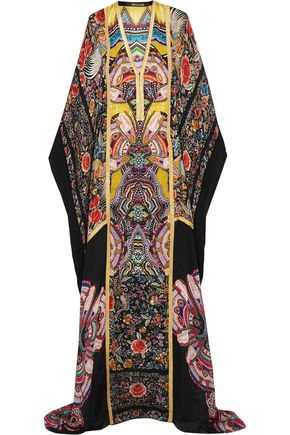 ROBERTO CAVALLI Metallic-trimmed printed silk-chiffon maxi dress