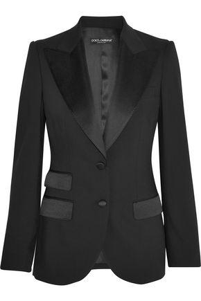 DOLCE & GABBANA Satin-trimmed stretch wool and silk-blend blazer