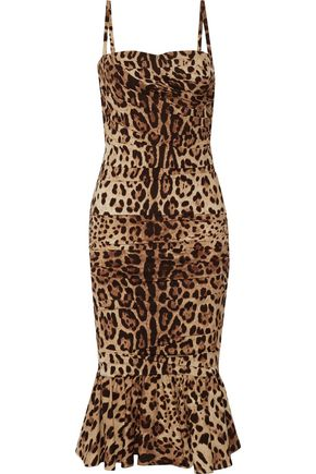 DOLCE & GABBANA Ruched leopard-print silk-cady midi dress