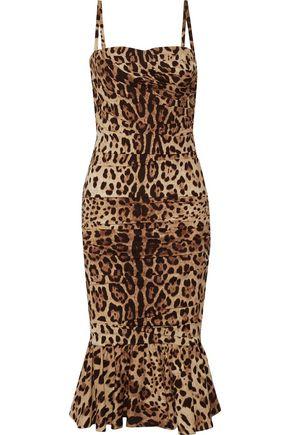 DOLCE & GABBANA Ruched leopard-print silk-cady midi dress