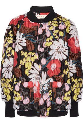 MARNI Oversized floral-print matelassé bomber jacket