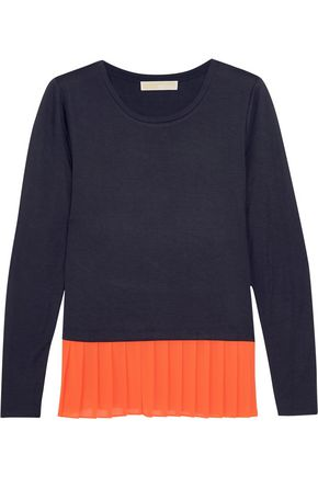 MICHAEL MICHAEL KORS Pleated crepe and jersey top