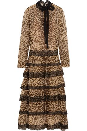 REDValentino Lace-trimmed leopard-print silk-crepon midi dress