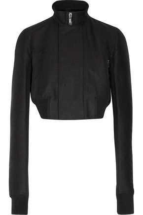 RICK OWENS Cropped wool-trimmed faille biker jacket