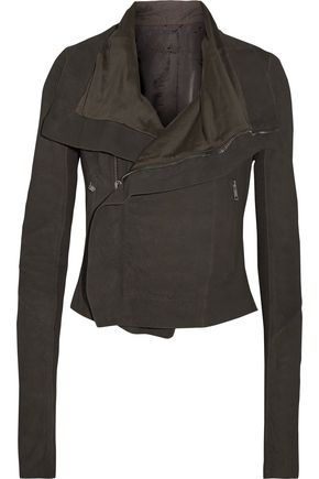 RICK OWENS Brushed-leather biker jacket