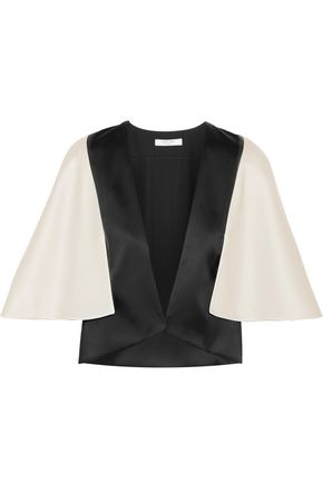 Cape-effect two-tone satin jacket