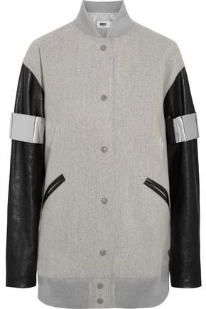 MM6 MAISON MARGIELA Faux leather-paneled wool-blend felt bomber jacket