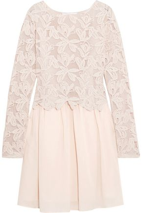 SEE BY CHLOÉ Layered guipure lace and cotton-voile mini dress