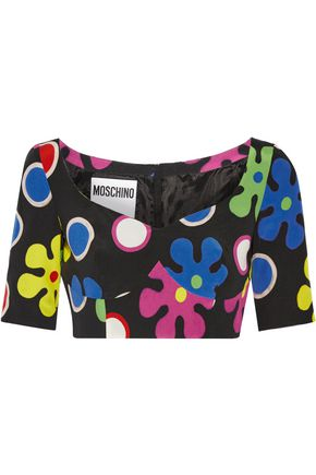 MOSCHINO Cropped printed  silk top