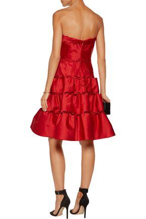 ZAC POSEN Strapless cutout satin dress