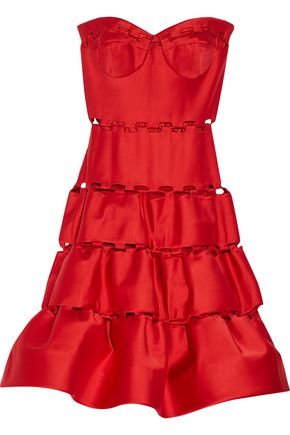 ZAC POSEN Strapless cutout satin dress