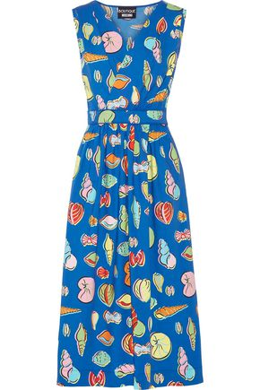 BOUTIQUE MOSCHINO Wrap-effect printed cotton-blend poplin midi dress