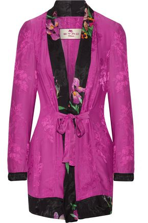 ETRO Belted satin-jacquard jacket