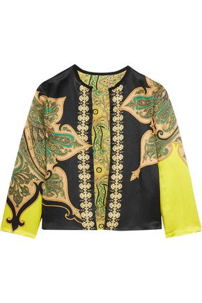 ETRO Reversible printed crinkled-satin jacket