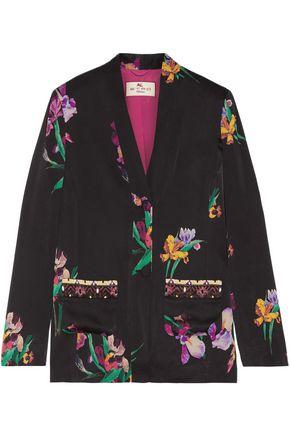 ETRO Embroidered floral-print satin-crepe blazer
