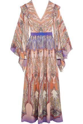 ETRO Ruffled printed silk-georgette gown