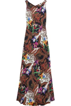 ETRO Open-back printed silk-crepe gown