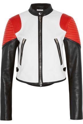 GIVENCHY Cropped color-block leather biker jacket