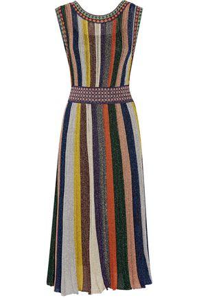 MISSONI Convertible wrap-effect pleated metallic crochet-knit midi dress
