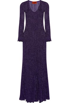 MISSONI Pleated metallic knitted gown