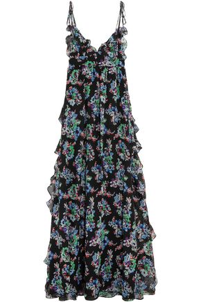MSGM Ruffled floral-print silk-chiffon maxi dress