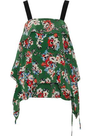 MSGM Draped floral-print silk crepe de chine camisole