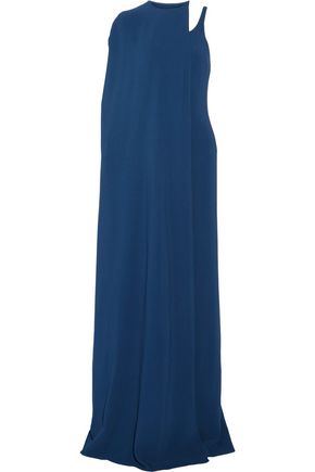 STELLA McCARTNEY Detachable cape one-shoulder cady maxi dress