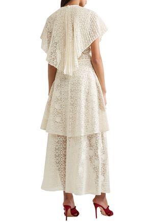 STELLA McCARTNEY Appliquéd tiered cotton-blend lace gown