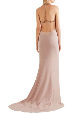 STELLA McCARTNEY Chain-embellished stretch-crepe halterneck gown