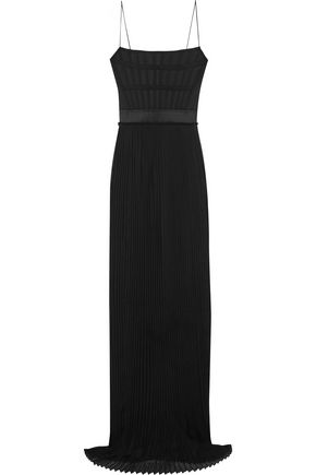 STELLA McCARTNEY Grosgrain-trimmed twill and pleated silk-chiffon gown