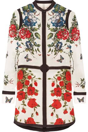ALEXANDER MCQUEEN Floral-print silk crepe de chine tunic